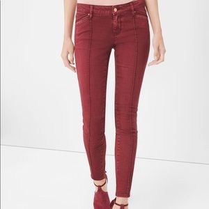 WHBM red jeans, zipper at ankle, leather details